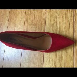 Red faux suede heel